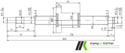 Technische Zeichnung einer Kugelumlaufspindel